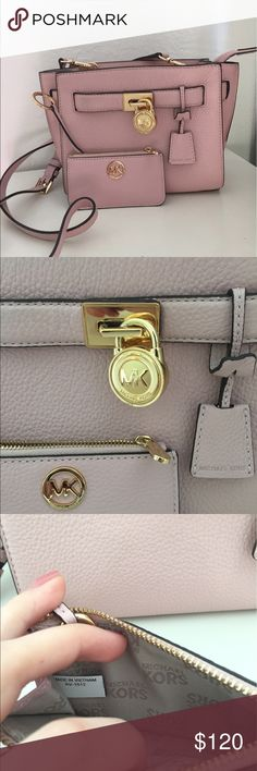 Blossom Small Hamilton Michael Kors Satchel Set Excellent condition. Only used a handful of times. Blossom pink in color. Gold accents. Minor wear behind lock. Soft pebble leather with no scuffs or scratches. Comes with matching coin purse and long strap. Authentic with both serial codes pictured. Michael Kors Bags Crossbody Bags