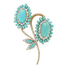 David Webb Turquoise Diamond Gold Flower Brooch | From a unique collection of vintage brooches at https://www.1stdibs.com/jewelry/brooches/brooches/