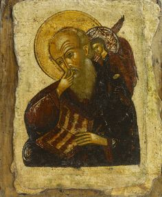 Detailed view: E033. Saint John in Silence- exhibited at the Temple Gallery, specialists in Russian icons