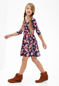 Belted Floral Bow Dress (Kids)   FOREVER21 girls - 2000057738