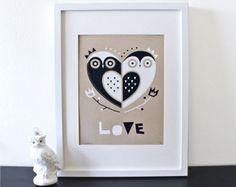 Buho amor serigrafía, Silkscreen, vivero arte, Kraft