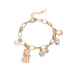 Jewelry - Cat And Round Pearl Charm Bracelet
