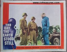 """""""The Day the Earth Stood Still"""", 1951  Original Vintage Movie Poster  Starring Michael Rennie, Patricia Neal  Guaranteed Authentic for life at http://www.cvtreasures.com   $775"""