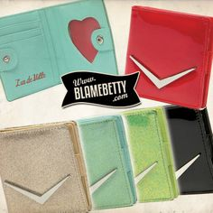 Carry your cards and cash in the most adorable way with the Lux Mini Wallet featuring a chevron logo and and a heart shaped ID holder. #Rockabilly #Pinup #Retro #BlameBetty