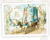 Christmas Card, Marie Antoinette, Fairy, Angel, Toys and Dolls, Horse and Carriage French Vintage style Holiday Card