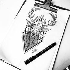 Cervo Tattoo, Geometric Drawing, Forearm Tattoos, Tattos, Manga Anime, Tattoo Designs, Crafty, Drawings, Animals