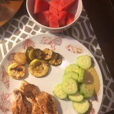 I love the simplicity of a quick supper in summertime. #freshveggies #watermelon #grilleverything #lovingsummerbreak