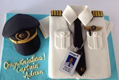 My most successful fondant cake I've ever made. Captain pilot cake for a friend's birthday and promotion celebration :-) (diy birthday cake for mom) Cake Designs For Boy, Cake Design For Men, Planes Cake, Pilot Wife, Shirt Cake, Diy Birthday Cake, Cake Pops, Retirement Cakes, Airplane Party