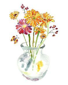 Flower Watercolor, Flower Painting, Colorful Art, Flower Art, Bathroom Decor, whimsical art, Flower art print  -  Keeping Spring 5