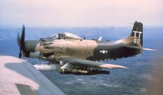 """Sandys over Vietnam.   The A-1H Skyraider was a main part for rescue missions in case a pilot was shot down in enemy territory. The """"Sandys"""" was the cover fire unit for the rescue helicopters and had hold down enemy fire for save the choppers."""