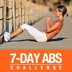 7 Day Abs Challenge--For the next 7 days, you will be doing workouts designed to challenge you and your midsection. #7daychallenge #workoutchallenge #flatabs #flatbelly