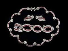 RARE Vintage Joseph Mazer Jomaz Rhinestone Bracelet Necklace Earrings Parure Set   eBay