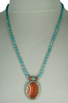 Nepali Banded Agate and Turquoise Necklace by SilkRoadJewelry