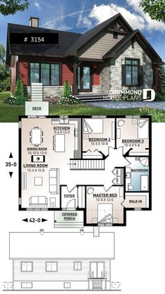 Discover the plan 3154 - Aspen Creek from the Drummond House Plans house collection. Rustic home design bungalow with 3 bedrooms on main floor, open floor plan concept, fireplace. Sims 4 House Plans, New House Plans, Modern House Plans, Small House Plans, House Floor Plans, House Plans 3 Bedroom, Modern Houses, Tiny Home Plans, Library Floor Plan