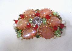 Vintage Alice Caviness Statement Brooch Pin Signed Rhinestones Faux Moonstones | eBay