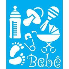 Stencil-para-Pintura-25x20-Acessorios-de-Bebe-LSG-045---Litocart Stencils, Stencil Font, Stencil Patterns, Stencil Diy, Stencil Designs, Baby Silhouette, Paint Cookies, Black Art Pictures, Printable Designs