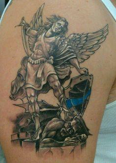 St Michael Tattoo - Patron Saint of Police Officers | TATTOOS | Pinterest | Archangel tattoo ...