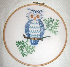 Retro Wise Owl Embroidery Hanging by BorealisBeads on Etsy, $18.00