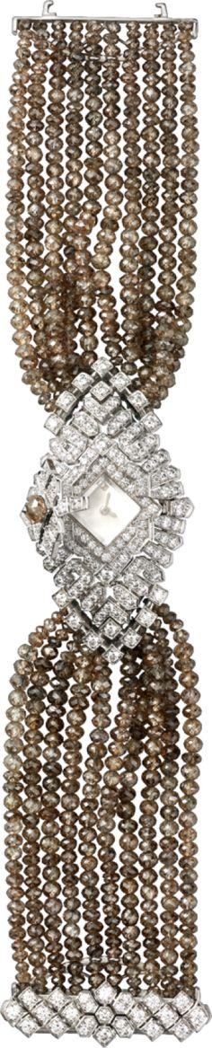 Cartier Montre Haute Joaillerie Petit modèle, or gris rhodié White Burgundy, White Gold, Cartier Diamond Bracelet, Bling, Coral Bracelet, High Jewelry, Bead Jewellery, Jewelry Box, Best Diamond