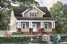 "Little Craftsmen Cottage, House Plan 137-284, 1928 Sq Ft , Four Bedrooms, Three Bathrooms, 34' 2"" Wide and 78' Deep."