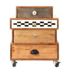 Cabinet de rangement à roulettes en manguier L 50 cm Fes