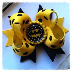 Baby Boutique Mini Bow/ Batman stacked baby bow by natortiz23, $6.00