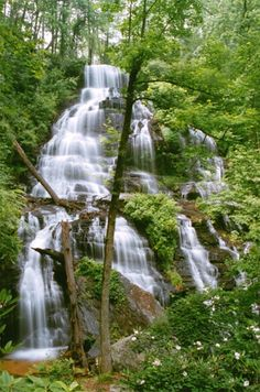 Issaqueena Waterfall..South  Carolina. I've climbed down the mountain to the bottom of the falls- in flip flops!!  Beautiful!