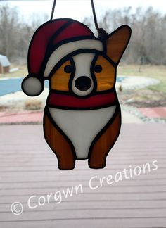 Pembroke Welsh Corgi Santa-Red and White by CorgwnCreations Stained Glass Christmas, Stained Glass Designs, Stained Glass Projects, Stained Glass Patterns, Stained Glass Art, Mosaic Glass, Fused Glass, Tiffany, Glass Animals