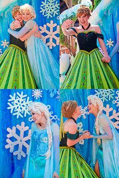 Anna and Elsa in the new fantasy parade - oh this is cute :) I don't like Anna's teeth though....