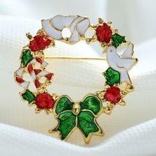 Newest Christmas Wreath Brooch Pin Bouquet Enamel Wedding Party Women Girl Xmas