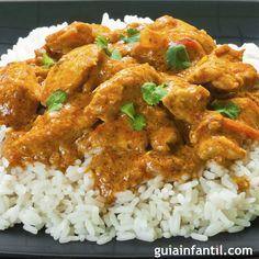 Guiainfantil.com te trae la receta de pollo al curry con arroz para niños. Recetas hindúes de arroz al curry para los niños. recetas hindúes para cocinar con los niños. Arroz con pollo al curry, receta de la India para niños.