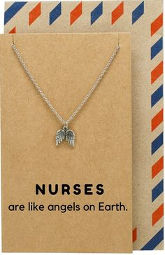 Bea Nurse Jewelry with Angel Wings Pendant - Quan Jewelry