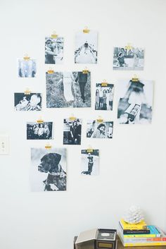 Laminate family photos and hang them with binder clips
