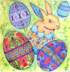 Nicholas F. Chandrawienata - Fantasia Easter Coloured with Derwent AcademyAq., Derwent Metallic Aq