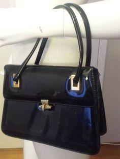 Vintage, Doral, Black, Patent Leather, Baguette Handbag, 1960's #Doral #Baguette