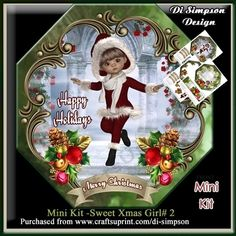 Mini Kit -Sweet Xmas Girl # 2 by Di Simpson A lovely and sweet xmas card design. There are 3 pages to print out in this design. Topper with…