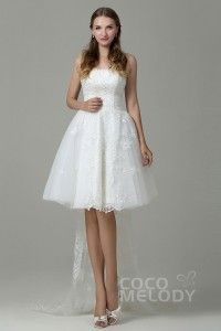 Sweet A-Line Strapless Natural Knee Length Tulle and Lace Ivory Sleeveless Lace Up-Corset Wedding Dress with Appliques and Removable Train 2016 Wedding Dresses, Cheap Wedding Dress, Wedding Gowns, Bridesmaid Dresses, Backless Wedding, Lace Wedding, Wedding Dress With Pockets, Tulle Lace, Knee Length Dresses