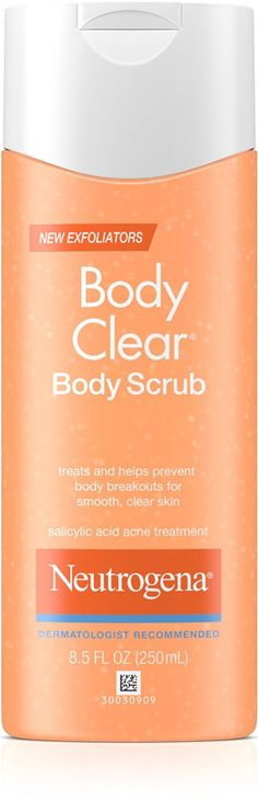 Rid your skin of pore clogging residue and acne causing bacteria with this medicated Neutrogena Body Clear Body Scrub. Cellulite Exercises, Cellulite Remedies, Acne Medicine, Salicylic Acid Acne, Acne Causes, Body Acne, Reduce Cellulite, Thigh Cellulite, Acne Prone Skin