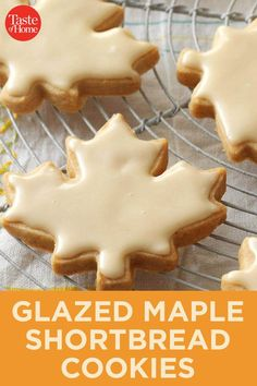 Glazed Maple Shortbread Cookies Glazed Maple Shortbread Cookies The post Glazed Maple Shortbread Cookies appeared first on Gastronomy and Culinary. Yummy Cookies, Sugar Cookies, Fall Cookies, Glaze For Cookies, Linzer Cookies, Short Bread, Buttery Shortbread Cookies, Shortbread Cookie Recipes, Biscuits