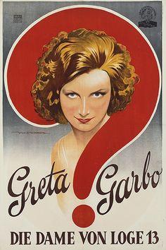 """Greta Garbo - Conrad Nagel in """"Die Dame von Loge 13"""" Österreichisches Uraufführungsplakat (1928) zum Film """"The Mysterious Lady"""" (1928) der MGM, Metro-Goldwyn-Mayer Pictures, USA. Regie Fred Niblo. Plakatentwurf Willy Stieborsky, Österreich 1928."""