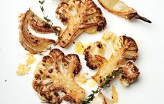 "Try this with cauliflower ""steak"" slices. Recipe and video, Bon Appetit. August is cauliflower season though available all the time. Meaty, caramelized cauliflower florets and some just-this-side-of-burnt onions all tossed with grated Parmigiano. Veggie Dishes, Vegetable Recipes, Food Dishes, Vegetarian Recipes, Cooking Recipes, Healthy Recipes, Cooking Tips, Healthy Snacks, Vegetarian Lifestyle"