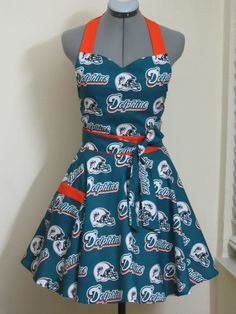 Miami Dolphins Full Apron.. Sexy Sweetheart style.. With a hint of Orange..Lets go Football Season...Full of Twirl Flounce. $35.00, via Etsy.  hubby would love if i had this!
