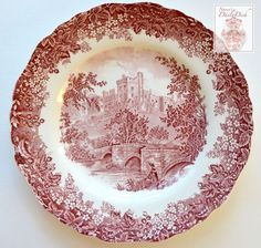 Romantic England Vintage Scenic Red Transfer Scalloped Plate For consideration here is one of the most beautiful and sought after patterns, Romantic England, in a red transferware plate. It features a Red Dinner Plates, Christmas Dinner Plates, Vintage Plates, Vintage Dishes, Plate Design, Blue Plates, Antique China, China Patterns, Vintage Pottery