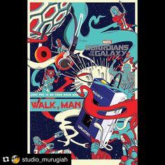 Pega seu walkman e vamos curtir o feriado! Para os da geração z walkman é um dispositivo eletrônico escutar música (tipo um iPod) rs.  Art by @studio_murugiah  #arte #artista #quadro #frame #poster #posteres #posterdesign #quadros #digitalart #digitalpainting #pinturadigital #culturapop #ilustração #ilustrador #artdirector #publicidade #nerd #geek #filme #cinema #guardiansofthegalaxy #peterquill #guardioesdagalaxia