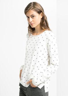 Embossed polka-dot sweater - Mango