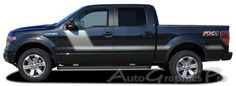 """2009 - 2014 Ford F-150 """"FORCE TWO"""" Factory Style Hockey Stick Side Vinyl Decal Graphic Stripes fits 163.1 inch wheelbase or less"""