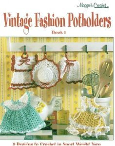Crochet Pattern Leaflet for Vintage Fashion PotholdersRemoving hot pans from the fire or hot stove was a dangerous task, unless you had a potholder to help you out. These functional kitchen items helped women with making food before the invention of plastic handles and asbestos oven mitts. These crochet patterns create colorful hand crochet potholders. One vintage crochet design that became popular during this era resembled