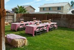 hay bale couch | Gingham table cloths and hay bales | Dominics 1st birthday- Down on t ...