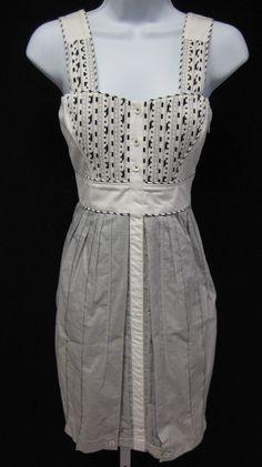 ZAC POSEN Bray White Checkered Print Sleeveless Pleated Casual Dress Sz 0 at www.ShopLindasStuff.com
