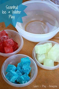 Summer fun sensory play with Kool Aid ice
